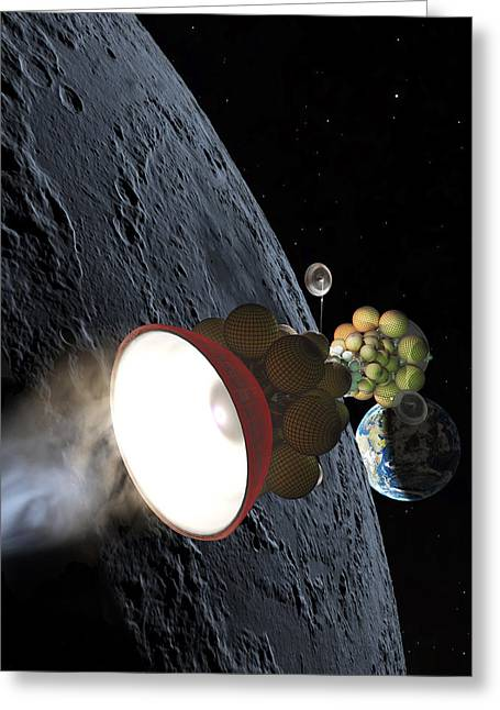 Interstellar Space Greeting Cards - Starship Departing from Lunar Orbit Greeting Card by Don Dixon