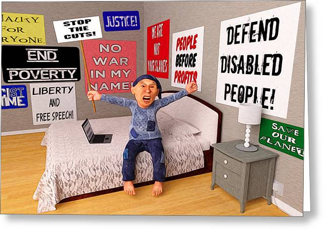 Start a Revolution From My Bed Greeting Card by Liam Liberty