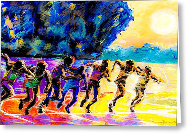 Recently Sold -  - Runner Greeting Cards - Start of a Mile Race Greeting Card by Dariusz Janczewski