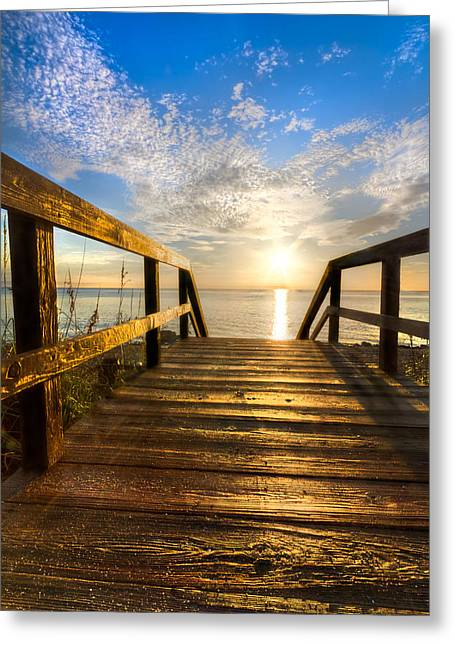 Sunset Posters Greeting Cards - Start of the Day Greeting Card by Debra and Dave Vanderlaan