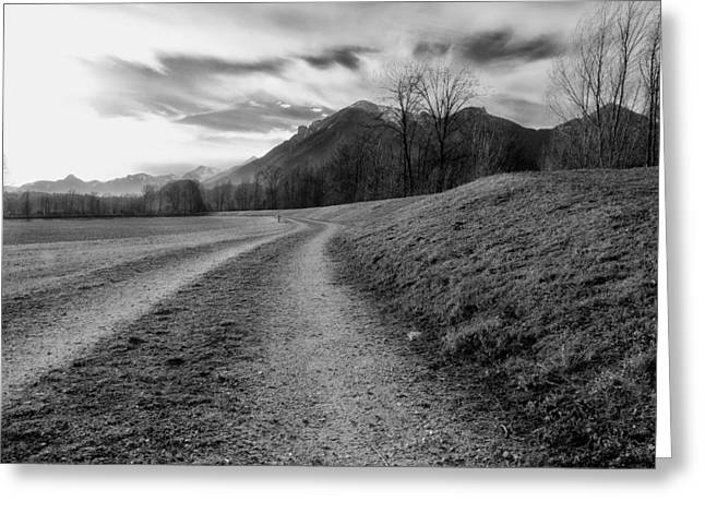 Gravel Road Greeting Cards - Start of the Day Greeting Card by Mountain Dreams