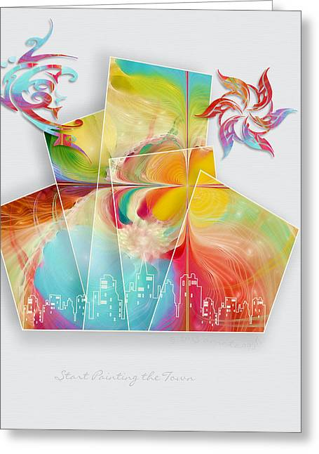 Fractal Spiritual Framed Prints Greeting Cards - Start Painting the Town Greeting Card by Gayle Odsather