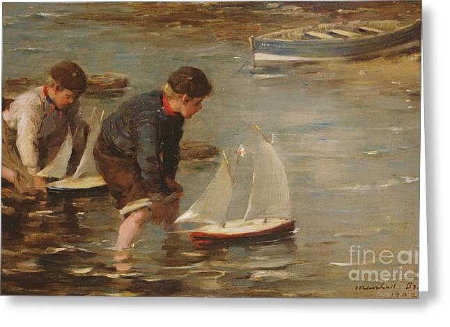 Children At Beach Greeting Cards - Starting the Race Greeting Card by William Marshall Brown