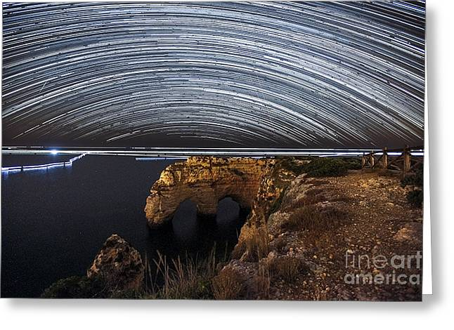 Astrophoto Greeting Cards - Startrail at Praia da Marinha Greeting Card by Andre Goncalves