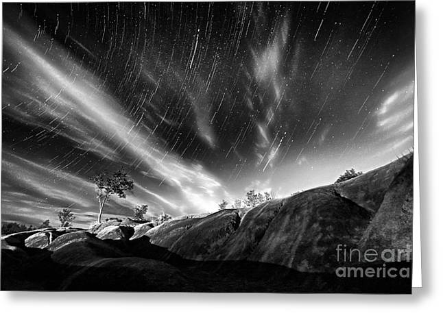 Startrails Greeting Cards - Startrails Over Badlands Greeting Card by Charline Xia