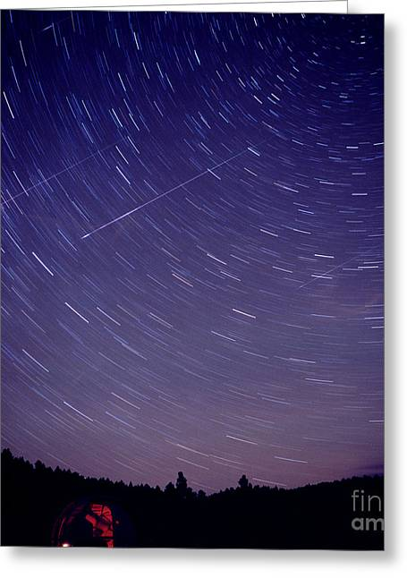 Rotation Greeting Cards - Startrails With Leonids Meteors Greeting Card by John Chumack
