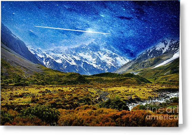 Stary Greeting Cards - Stary Night over Highlands Greeting Card by Celestial Images