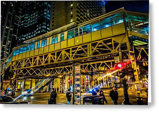 Stop Light Greeting Cards - State and Lake El Station Greeting Card by Lauri Novak