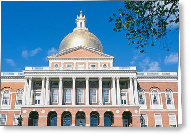 Seat Of Power Greeting Cards - State Capitol, Boston, Massacushetts Greeting Card by Panoramic Images
