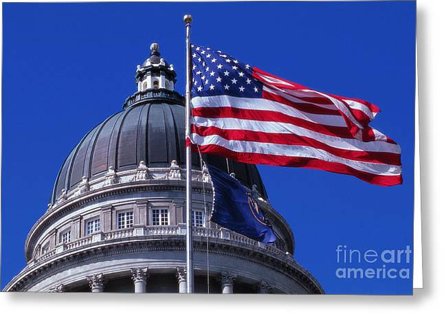 United States Capitol Dome Greeting Cards - State Capitol Dome, Salt Lake City, Utah Greeting Card by Adam Sylvester
