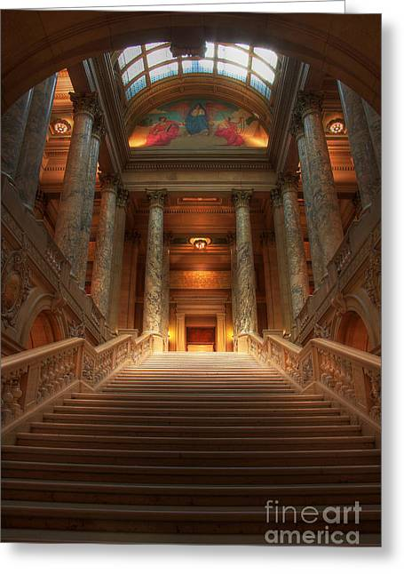 St Paul Greeting Cards - State Capital of Minnesota Staircase Greeting Card by Wayne Moran