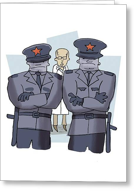 Police State Greeting Cards - State-controlled science, artwork Greeting Card by Science Photo Library