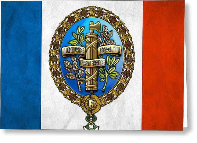 Coa Greeting Cards - State Emblem and Flag of France Greeting Card by Serge Averbukh