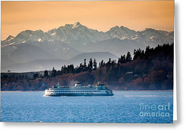 Pacific Northwest Greeting Cards - State Ferry and the Olympics Greeting Card by Inge Johnsson