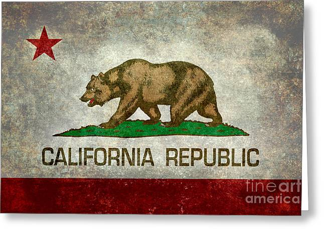 Grungy Digital Greeting Cards - State flag of California Greeting Card by Bruce Stanfield
