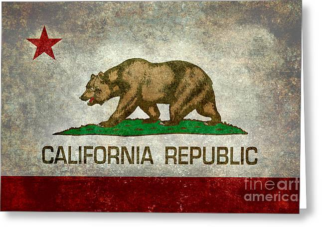 Brown Bears Greeting Cards - State flag of California Greeting Card by Bruce Stanfield