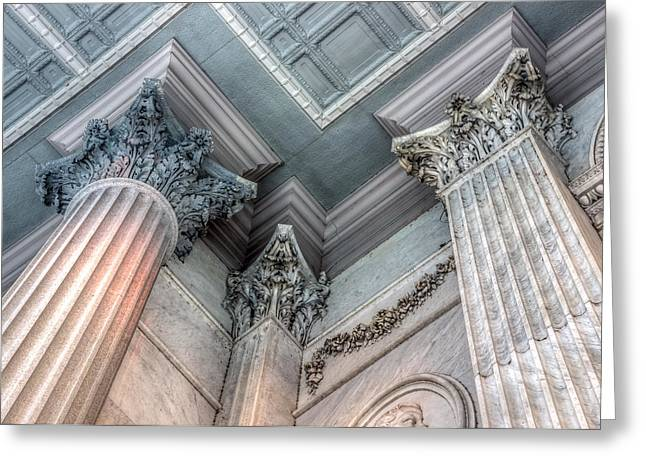 Recently Sold -  - Historic Statue Greeting Cards - State House Exterior Columns Greeting Card by Rob Sellers