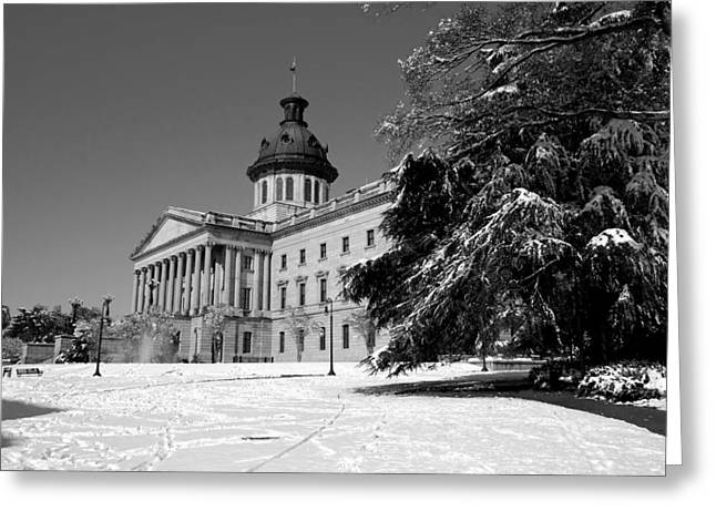 Snow On The Ground Greeting Cards - State House Snow Greeting Card by Joseph C Hinson Photography