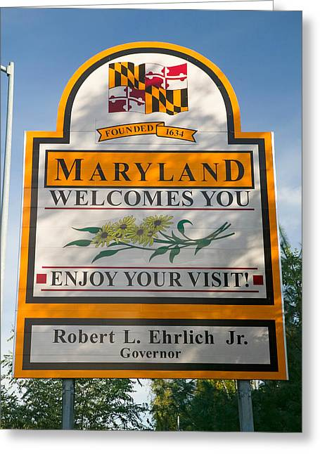 Welcome Signs Greeting Cards - State Of Maryland Welcomes You Sign Greeting Card by Panoramic Images