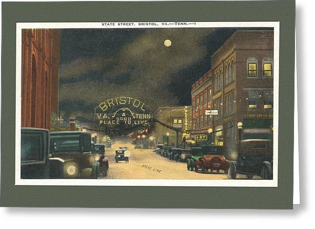 State Street Bristol Va Tn At Night Greeting Card by Denise Beverly