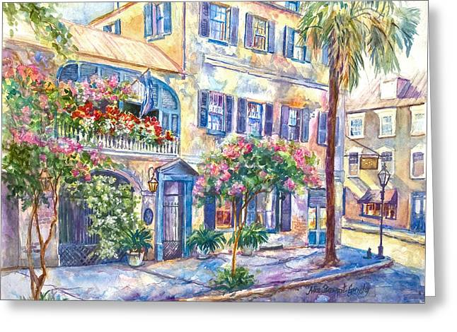 Palmetto Trees Greeting Cards - State Street Rainbow Greeting Card by Alice Grimsley