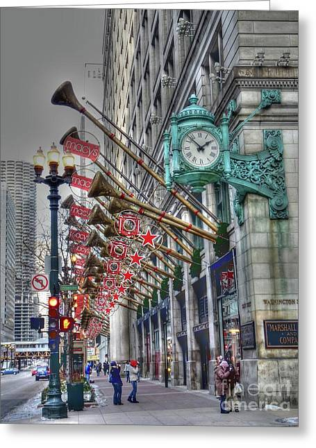 Clock Greeting Cards - State Street that great street Greeting Card by David Bearden