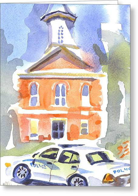Stately Courthouse With Police Car Greeting Card by Kip DeVore