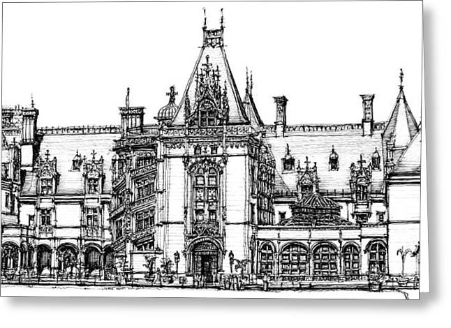 Chateau Greeting Cards - Stately home in ink Greeting Card by Lee-Ann Adendorff