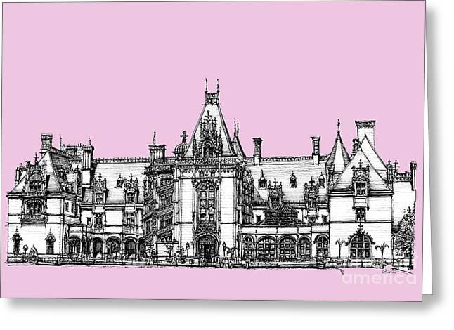 Peach Drawings Greeting Cards - Stately home in pink Greeting Card by Building  Art