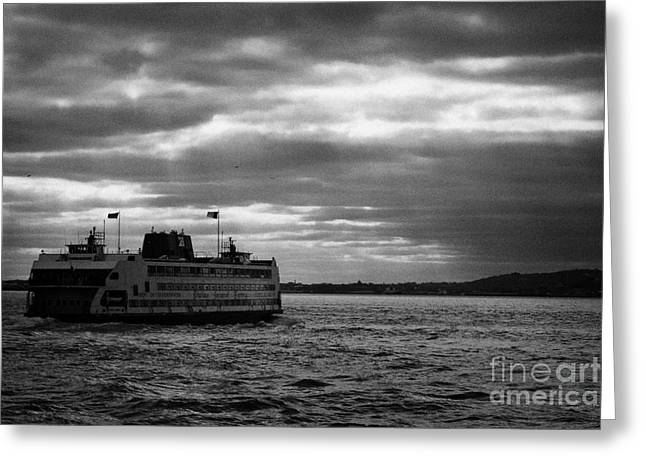 staten island ferry Andrew J Barberi heading towards staten island Greeting Card by Joe Fox