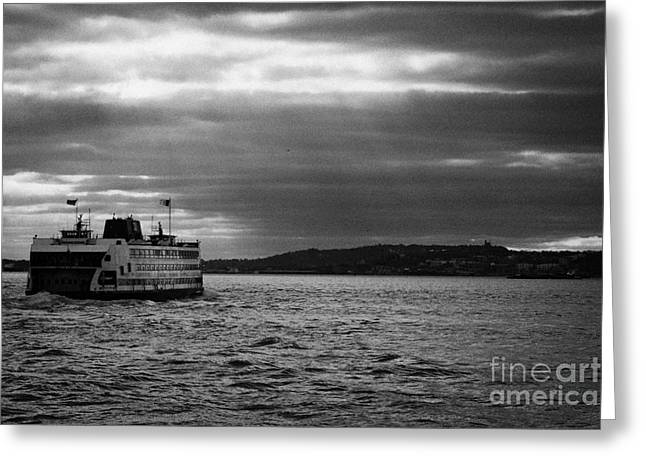 staten island ferry Andrew J Barberi heading towards staten island new york Greeting Card by Joe Fox