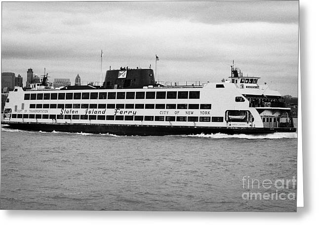 Manhatan Greeting Cards - staten island ferry Andrew J Barberi new york usa Greeting Card by Joe Fox