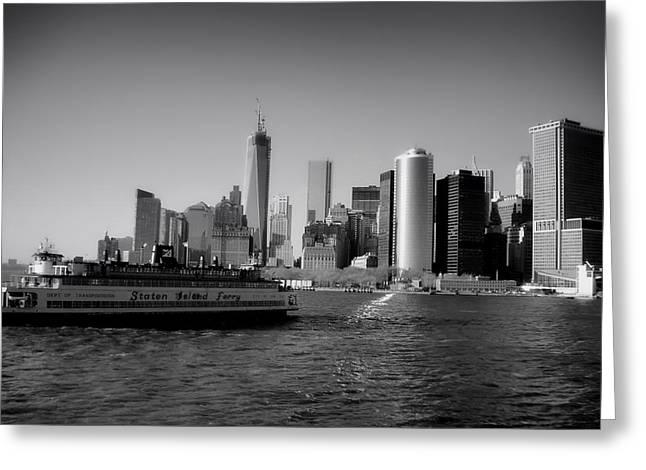 Staten Island Ferry Greeting Cards - Staten Island Ferry Departs Manhattan Greeting Card by Mountain Dreams
