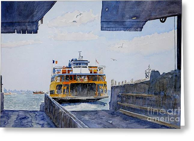 Sea Birds Greeting Cards - Staten Island Ferry Docking Greeting Card by Anthony Butera
