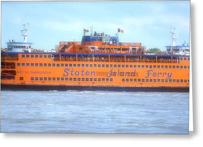 Staten Island Ferry In New York Greeting Cards - Staten Island Ferry In New York Harbor Greeting Card by Michael Dagostino