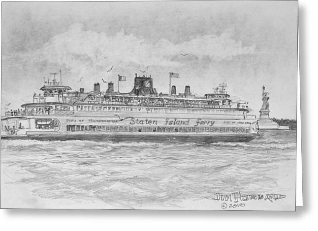 Jim Hubbard Greeting Cards - Staten Island Ferry Greeting Card by Jim Hubbard