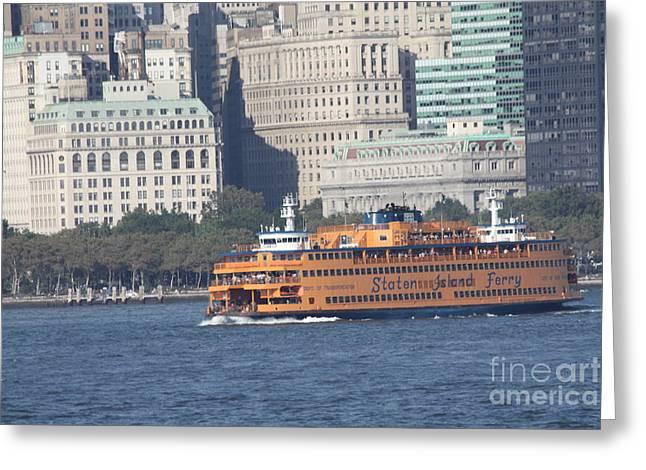 John Telfer Photography Greeting Cards - Staten Island Ferry Leaving Manhattan Greeting Card by John Telfer