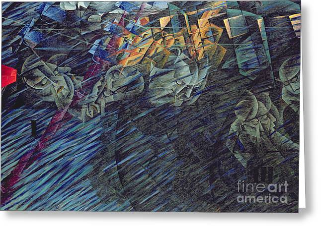 Mind Paintings Greeting Cards - States of Mind    Those Who Go Greeting Card by Umberto Boccioni