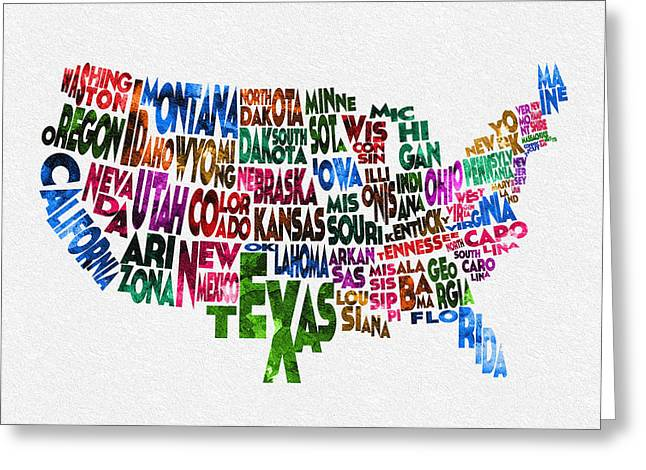 Abstract Map Greeting Cards - States of United States Typographic Map Greeting Card by Ayse Deniz