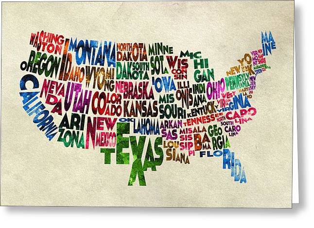 Original Watercolor Greeting Cards - States of United States Typographic Map - Parchment Style Greeting Card by Ayse Deniz