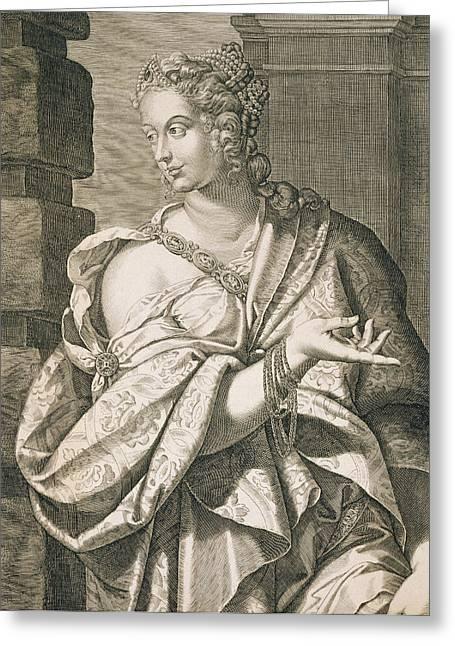 Jewelry Drawings Greeting Cards - Statilia Messalina Third Wife Of Nero Greeting Card by Aegidius Sadeler or Saedeler