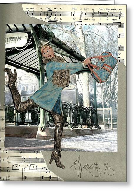 Blonde Mixed Media Greeting Cards - Station Dance Greeting Card by P J Lewis