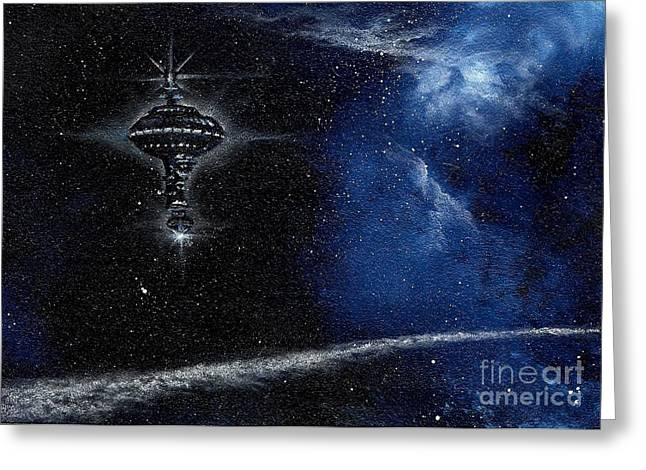 Station In The Stars Greeting Card by Murphy Elliott