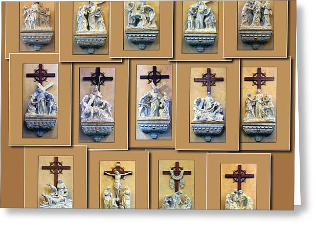 Coller Greeting Cards - Stations of the Cross Collage Greeting Card by Thomas Woolworth