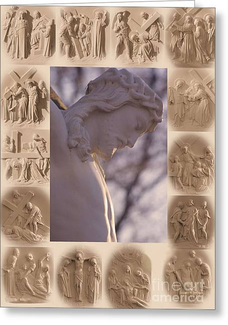 Calvary Greeting Cards - Stations of the Cross Greeting Card by Sharon Elliott