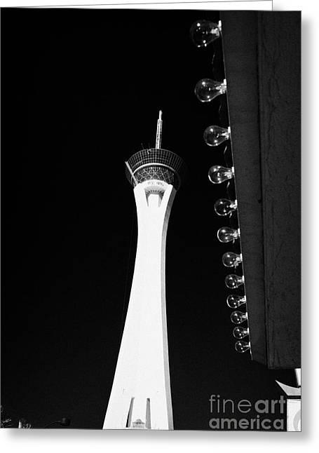 Stratosphere Greeting Cards - statosphere hotel tower and casino Las Vegas Nevada USA Greeting Card by Joe Fox