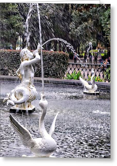 Historic Site Greeting Cards - Statues In The Fountain Greeting Card by Kathleen Struckle
