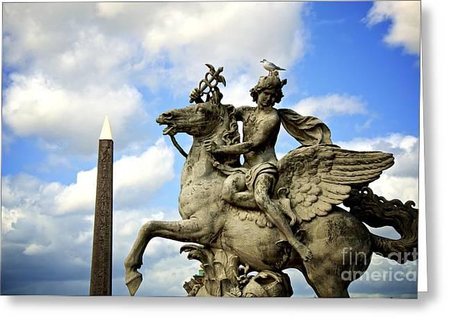 Concorde Greeting Cards - Statue . Place de la Concorde. Paris. France Greeting Card by Bernard Jaubert