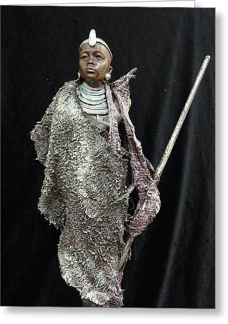 Doll Sculptures Greeting Cards - Statue 1 Greeting Card by Els Schutte