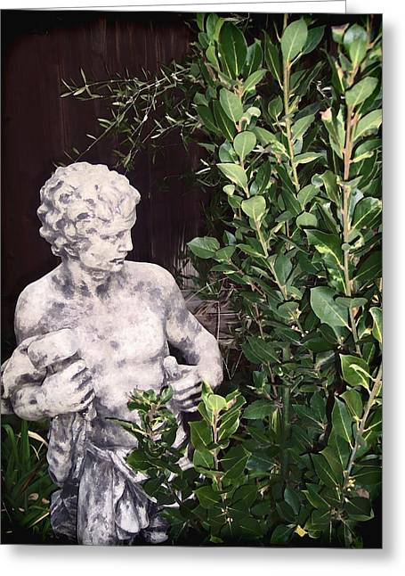 Garden Statuary Greeting Cards - Statue 1 Greeting Card by Pamela Cooper